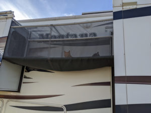 Cats in enclosure between slide-outs on Montana fifth wheel