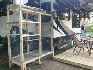 Wood frame cat enclosure for fifth wheel
