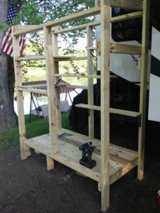 Wood frame for cat enclosure for fifth wheel trailer